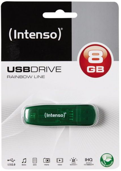 Intenso USB 2.0 Stick 8 GB Rainbow Line Speicher USB-Stick grün
