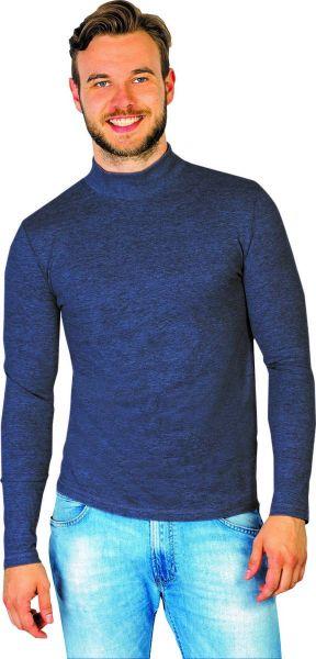 Langarmshirt mit Stehbund, Farbe marine, Gr.3XL
