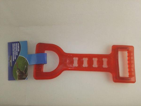 Hund Kauspielzeug mit 2 Griffen Vollkunststoff rot elastisch 28x10 cm