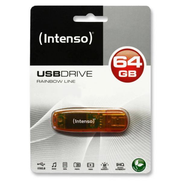 Intenso USB 2.0 Stick 64 GB Rainbow Line Speicher in orange