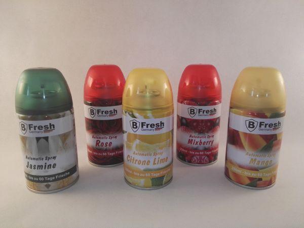 5 Set - Fresh Duftspray Nachfüller Kartusche 250ml - Jasmine Rose Zitrone Mixbarry Mango