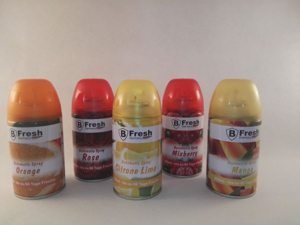 5 Set - Fresh Duftspray Nachfüller Kartusche 250ml - Orange Rose Zitrone Mixbarry Mango