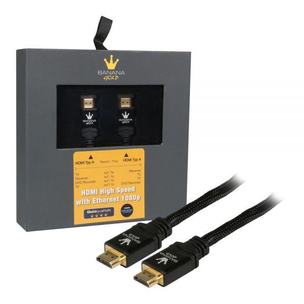 BananaGold HDMI (ST - ST) schwarz 3D+Ethernet+4K BananaGold retail Nylon - 2 m