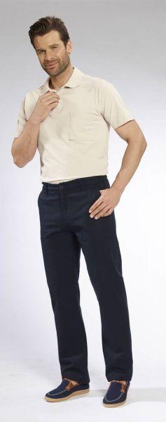 Baumwollhose mit Teil-Dehnbund, 2 Gesäßtaschen mit Reißverschluß, Farbe marine, Gr.30