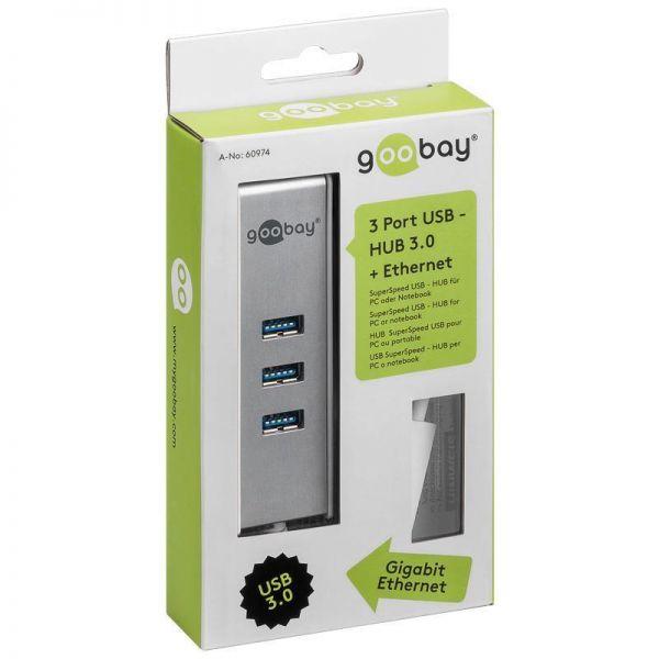 Goobay 3 Port USB 3.0 Gigabit + Ethernet HUB SuperSpeed # 60974